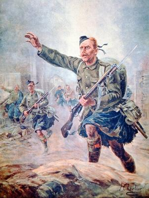 Scots Highlander wearing a kilt in battle on the Western Front
