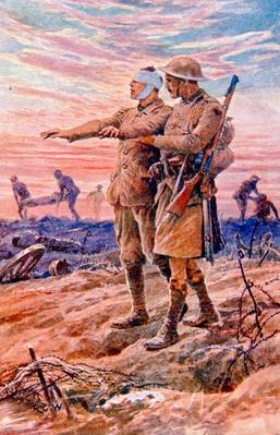 'When night sets in the sun is down' - British WWI postcard published on behalf of the National Institute for the Blind