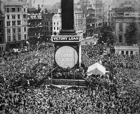Celebrating Armistice Day in Trafalgar Square, London, 11th November 1918