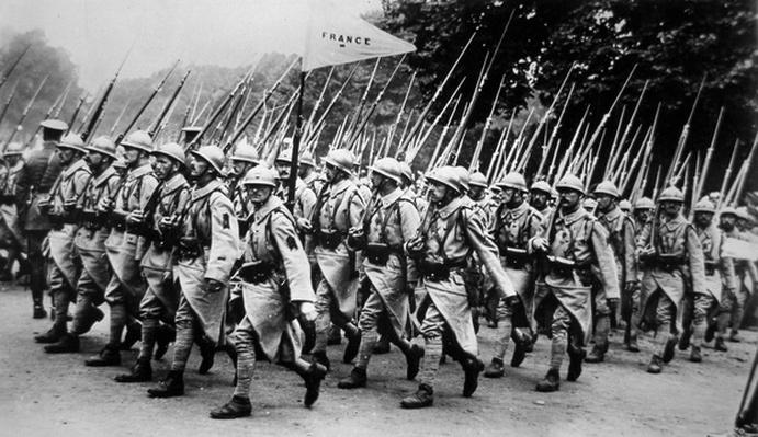 WWI victory march of the Allied troops in London - French Infantry, 19th July 1919