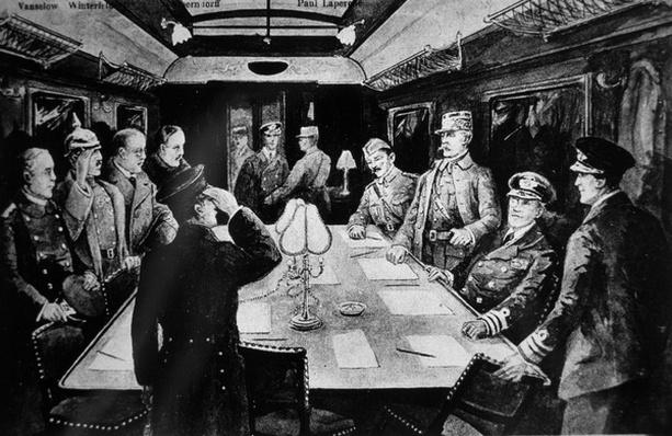 Signing the Armistice that ended WWI in railway coach 2419D, Rethondes, Forest of Compiegne, 11th November 1918