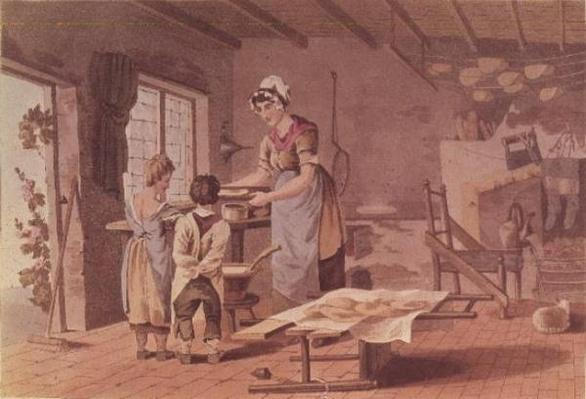 Making oat cakes, engraved by the Havell Brothers, pub. 1813 by Robinson and Son