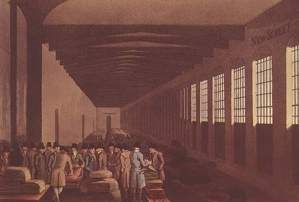 Cloth Hall, New Street, London, engraved by Robert Havell, pub. by Robinson & Son, Leeds, 1814