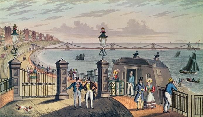 The Chain Pier on the front at Brighton, designed and erected by Captain S. Brown R.N. in 1823, engraved and published by the artist