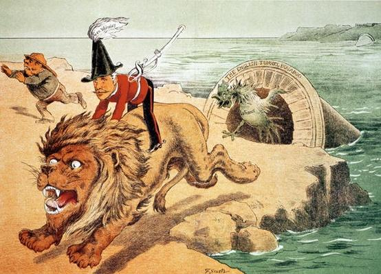 'The Lion cannot face the corwing of the Cock', The American view of the Channel Tunnel Scare, illustration from 'Puck' magazine