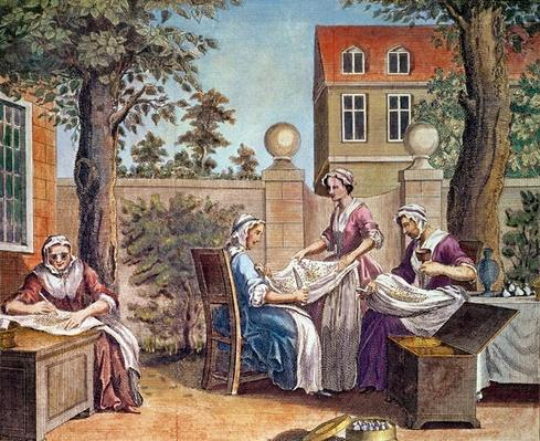 Silk-Making, engraved by J. Hinton for 'Universal Magazine' at the Kings Arms, St. Paul's Churchyard, London, 1748