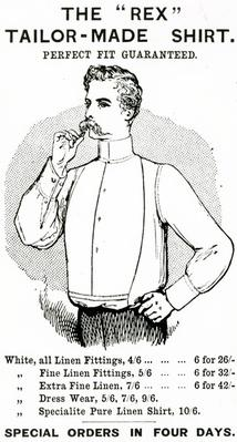 "Advertisement for 'The ""Rex"" Tailor-Made Shirt', c.1890"
