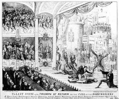 The Last Scene of the Triumph of Reform or the Fall of the Boro'mongers, 1832