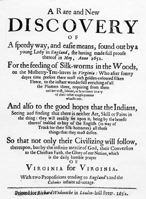 Title Page for 'The Reformed Virginian Silk-Worm' by Samuel Hartlib, published 1652