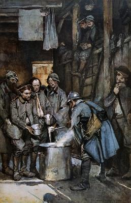 German POWs in French hands at Souville receive food rations, 1916