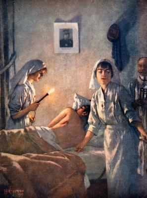 French nurses tend wounded soldiers, 1915