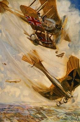British biplane bringing down a German Taube monoplane with pistol fire, early in the war