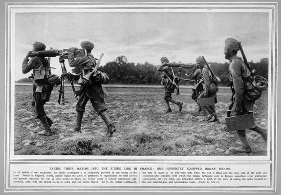 Indian troops on active service in France, photo published in Illustrated War News, November 4th, 1914