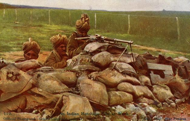 Postcard - An Indian Hotchkiss Gun at Work, 1914-18