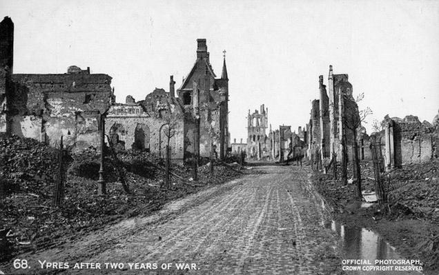 Postcard - Ypres after Two Years of War, 1916