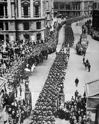 American troops of WWI parade through London on USA entering the war in Europe, 15th August 1917