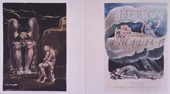 America a Prophecy: frontispiece and title page depicting Orc, the embodiment of Energy, 1793