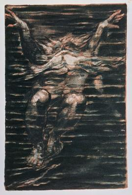 The First Book of Urizen; Bearded man swimming through water, 1794