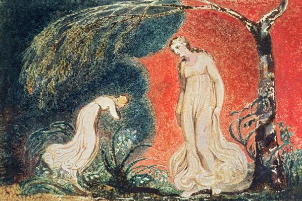 Book of Thel; the Lily bowing before Thel, before going off 'to mind her numerous charge among the verdant grass', 1789