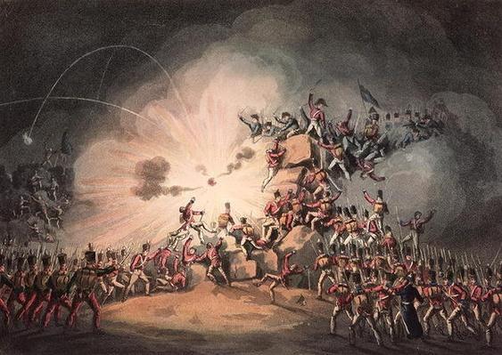 Storming of Ciudad Rodrigo, 19th January, 1813 aquatinted by Thomas Sutherland