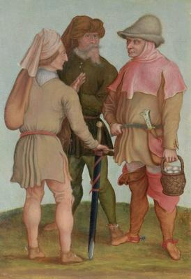 Three peasants, 16th or 17th century