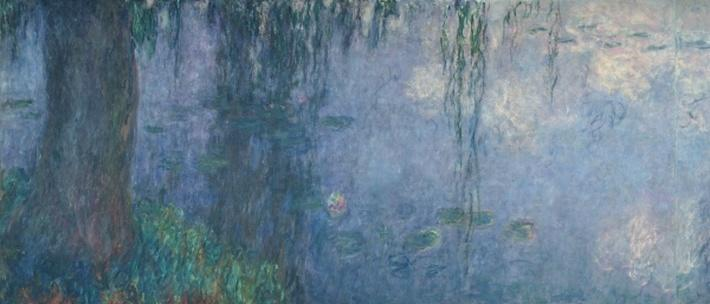 Waterlilies: Morning with Weeping Willows, detail of the left section, 1914-18