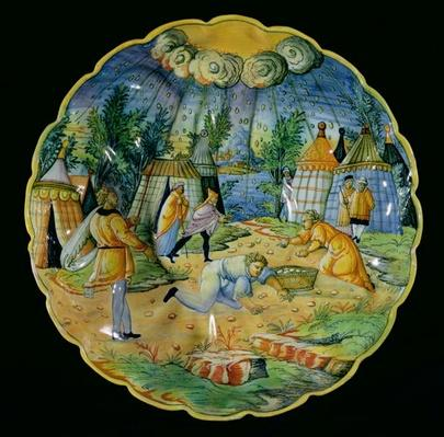 Dish depicting the gathering of manna, made in Nevers or Lyons