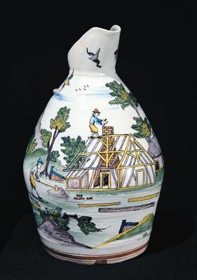 Pitcher depicting the construction of a building, Sinceny, c.1740-50