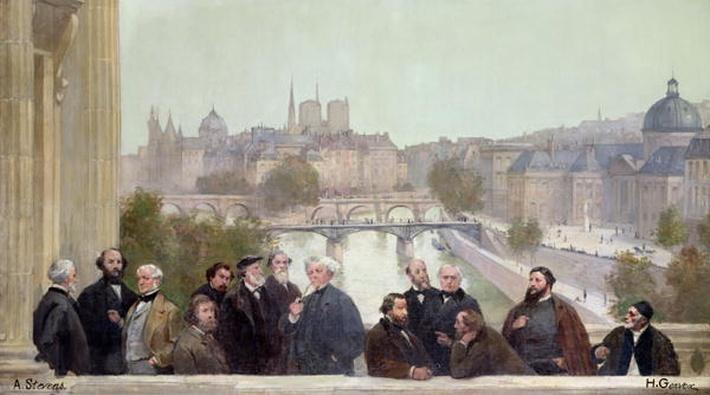 Fragment of the panorama of 'The History of the Century', with portraits of French artists and authors, 1889