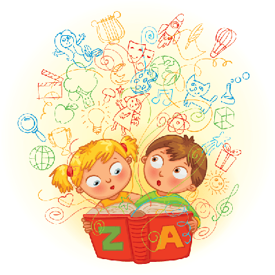 Boy and Girl Reading A Magic Book | Clipart