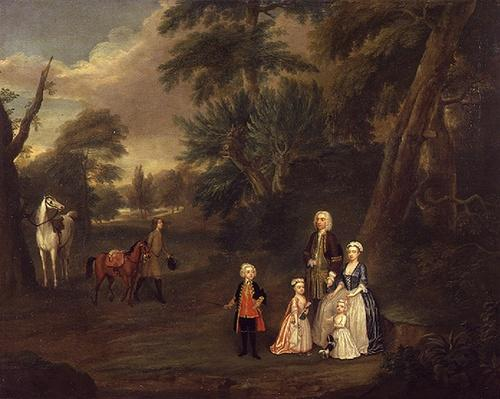 Thomas Hill of Tern, and his family in a landscape, 1730