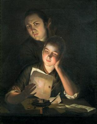 A Girl reading a letter by Candlelight, with a Young Man peering over her shoulder, c.1760-2