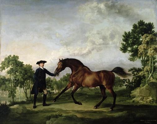 "The Duke of Ancaster's bay stallion ""Blank"", held by a groom, c.1762-5"