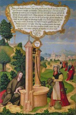 Christ and the Woman from Samaria at Jacob's Well, section of wing panel from the Mompelgarter Altarpiece