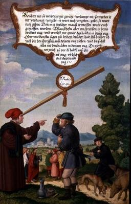 'Why note the splinter in your brother's eye, and fail to see the plank in your own eye?', illustration of Christ's teaching