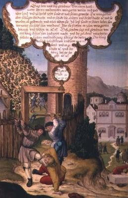 The vinedressers killing the heir of the vineyard owner, illustrating Christ's teaching 'The stone that the builders rejected is the chief stone of the corner'