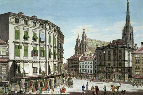 Stock-im-Eisen-Platz, with St. Stephan's Cathedral in the background, engraved by the artist, 1779
