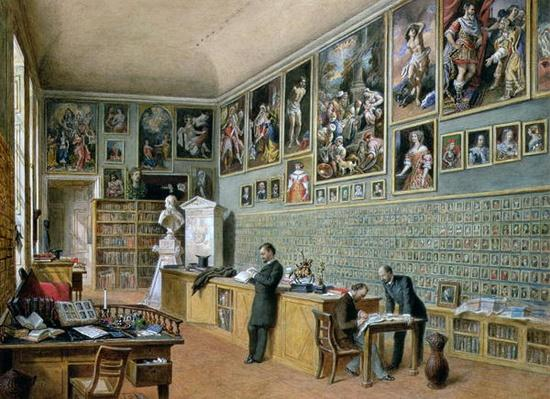 The Library, in use as an office of the Ambraser Gallery in the Lower Belvedere, 1879