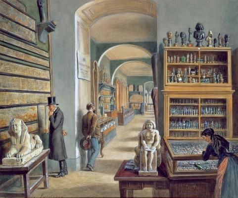 The second room of Egyptian antiquities in the Ambraser Gallery of the Lower Belvedere, 1879