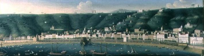 View of Naples from the sea with the Castel dell'Ovo and the suburb of Chiaia, 1731