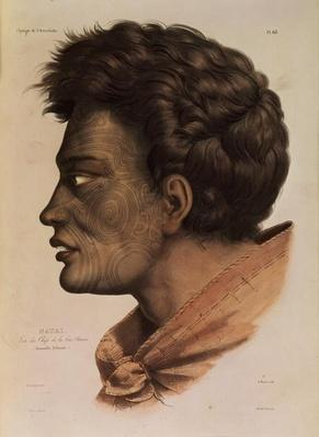 Natai, a Maori chief from Bream Bay, New Zealand, plate 63 from 'Voyage of the Astrolabe', engraved by Victor Adam, 1833