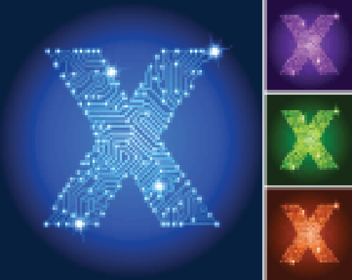 Letter X on Blue Circuit Color Set | Clipart