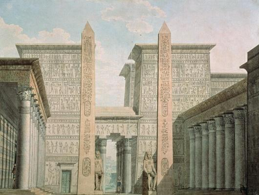 The Entrance to the Temple, Act I scene iii, set design for 'The Magic Flute' by Wolfgang Amadeus Mozart