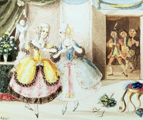 Fiordiligi and Dorabella watched from the doorway by Don Alfonso, Ferrando and Guglielmo, from 'Cosi Fan Tutte' by Wolfgang Amadeus Mozart