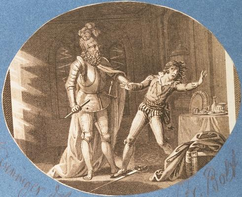 Don Giovanni and the statue of the Commandantore that has come to life, Act II scene iv, from 'Don Giovanni' by Wolfgang Amadeus Mozart