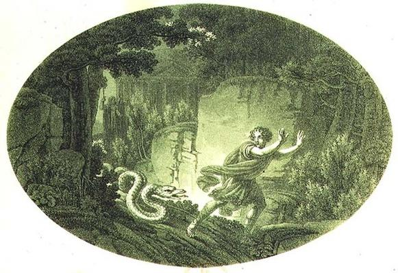 Tamino pursued by a giant serpent, Act I scene I from 'The Magic Flute' by Wolfgang Amadeus Mozart
