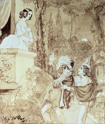 Leporello serenading Elvira in the guise of Don Giovanni