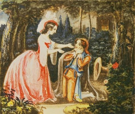 Count Almaviva kneels before his wife in contrition, Act IV, from 'The Marriage of Figaro' by Wolfgang Amadeus Mozart