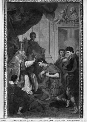 Emperor Theodosius I the Great receiving the pardon from St. Ambrose, archbishop of Milan, c.1745