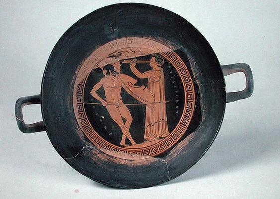 Greek red-figure cup, depicting a warrior dancing the Pyrrhic, by Aristeides the Elder
